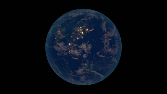 Rotating Earth at night (Asia view)