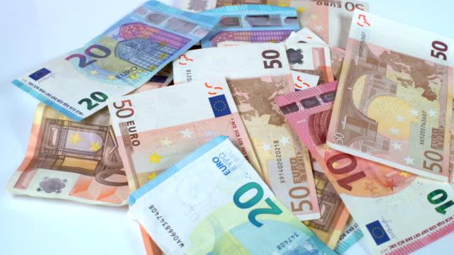 Rotating Euro banknotes
