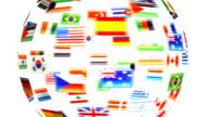 Rotierende flags auf weißem Hintergrund