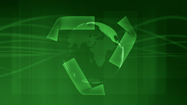 Rotating Green Earth with Recycle Logo