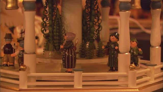 CU TU Rotating nativity scene at Christkindlesmarkt (Christmas market) / Nuremberg, Bavaria, Germany