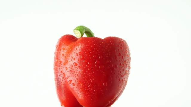 Rotating red bell pepper