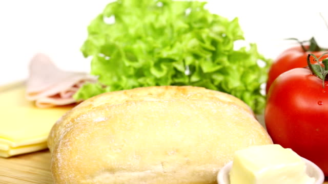 Rotating Sandwich with salad and cheese