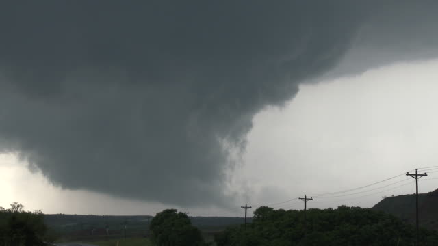 Rotating Supercell Thunderstorm & Wall Cloud, Developing Tornado