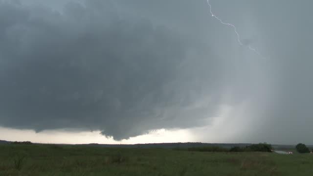 Rotating Supercell Thunderstorm, Wall Cloud, Lightning Flashing