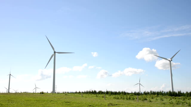 Rotating wind turbine and meadow under blue sky,real time.
