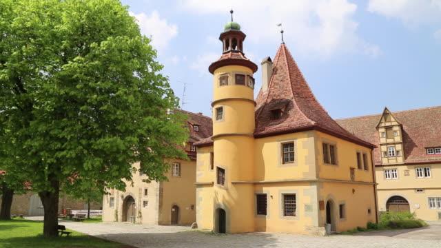 Rothenburg ob der Tauber, Spital coutyard, view of the Hegereiterhaus, 16th century by the architect Leonhard Weidmann