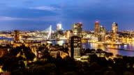 Rotterdam Skyline at night, zoom