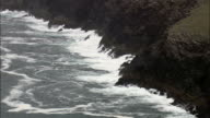 Rough sea and cliffs - Aerial View - Munster,  Co Kerry,  helicopter filming,  aerial video,  cineflex,  establishing shot,  Ireland