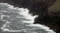 Mare increspato e scogliere-Vista aerea-Munster, co Kerry, ripresa dall'elicottero, Video aerea, cineflex, inquadratura d'ambientazione, Irlanda