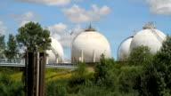 Round Oil tanks at European Refinery