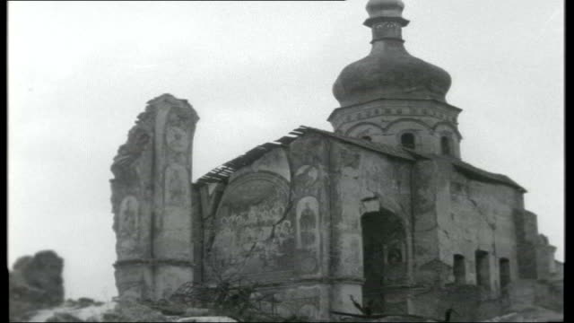 from Ballet to Ballots Title Sequence FEDERATION Ukraine Kiev EXT Ruined 11th century cathedral with onionshaped bell tower and frescos on exposed...
