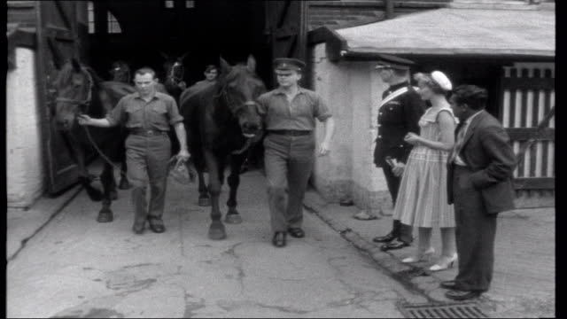 Lena In London EXT Horses drinking at water trough as bugler sounds 'evening stable'