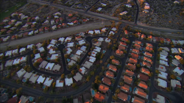 AERIAL Row houses in residential district, Tucson, Arizona, USA