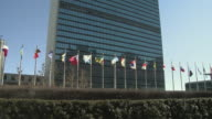MS Row of flags flapping in wind in front of United Nations building hedge in foreground / New York City New York USA