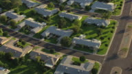MS AERIAL DS Row of houses with yards at Sun City / Phoenix, Arizona, United States