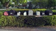 MS Row of mailboxes on suburban street, Newark, Illinois, USA