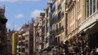 MS ZO Row of ornate, multicolored houses on Calle Major/ Madrid, Spain
