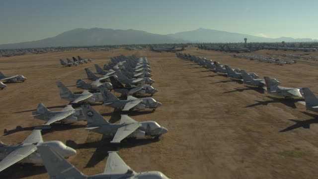 WS AERIAL Row of parked jets in Davis Monthan Air Force Base 309th Aerospace Maintenance and Regeneration Group / Arizona, United States