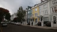 A row of terraced houses stand in Notting Hill London on Thursday 30th October gvs of the street pan down a row of houses