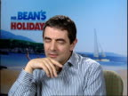 Rowan Atkinson talks about his new film Mr Bean's Holiday ENGLAND Central London INT Rowan Atkinson interview SOT he's slightly smaller and sadder...