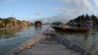 MS POV Rowing boat on Thu Bon river / Hoi An, Quang Nam, Viet Nam