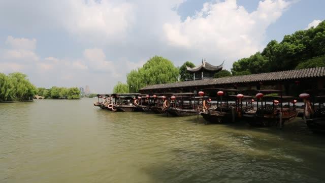 Rowing boats in port on the South Lake,Jiaxing,Zhejiang,China