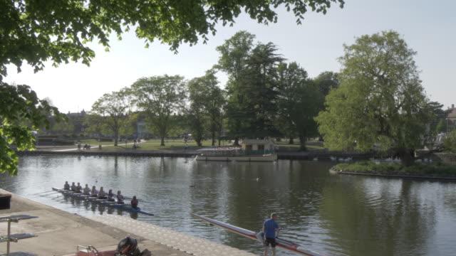 Rowing on River Avon in Stratford Upon Avon, Warwickshire, England, United Kingdom, Europe