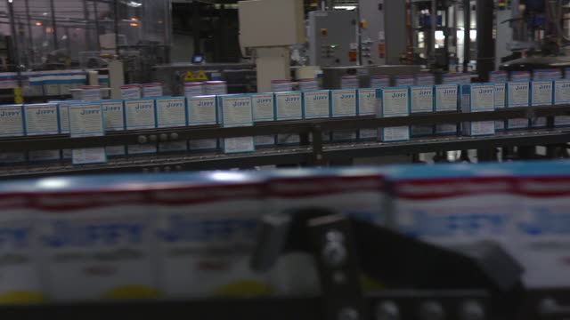 MS PAN Rows of automated lines of baking mix boxes moving to left and right / Chelsea, Michigan, United States