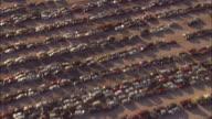 AERIAL Rows of cars in junkyard, El Paso, Texas, USA