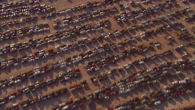 AERIAL Rows of cars in junkyard, El Paso, Texas, USA