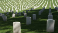 Rows of grave markers in Arlington National Cemetery. Shot in May 2012.