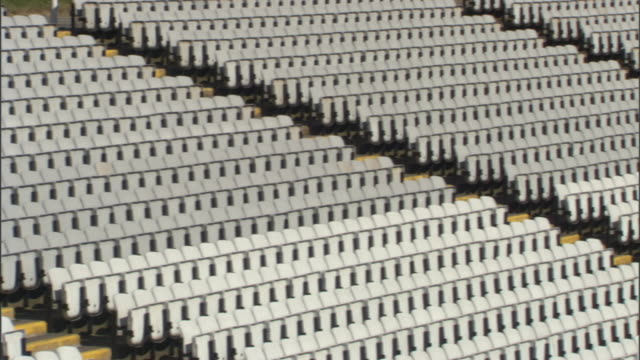 WS PAN rows of gray seats in stadium/ Sheffield, England