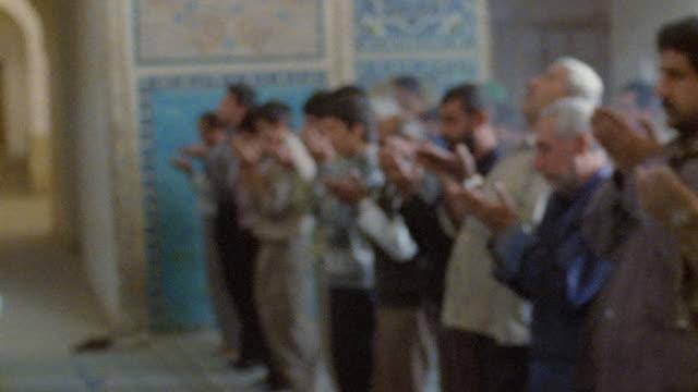 MS PAN rows of men praying in Jameh Mosque (Friday Mosque) / Yazd, Iran