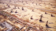 Rows of Pumpjacks in California Oil Field