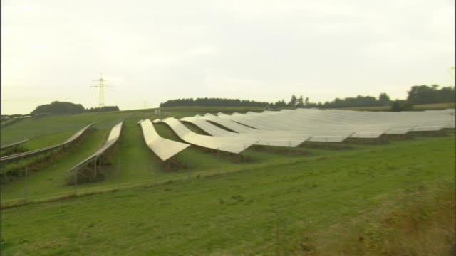 WS PAN Rows of solar panels on field / Munich, Bavaria, Germany