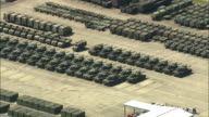 AERIAL Rows of tanks and containers in military base, Rhineland, Germany