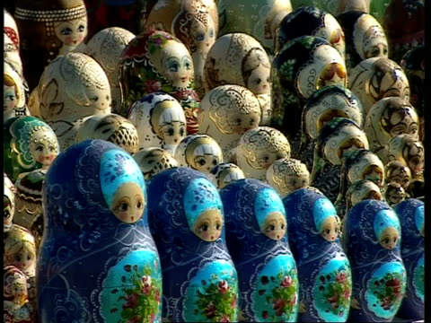 CU Rows of traditional painted blue and white nesting/babushka dolls, Moscow