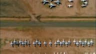 AERIAL, Rows of un-used military aircrafts, Davis-Monthan Air Force Base, Tucson, Arizona, USA