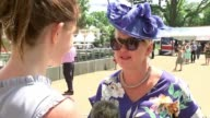 Royal Ascot 2017 Opening day / increased security Woman fanning herself in hot weather Two women eating ice cream cones Vox pops