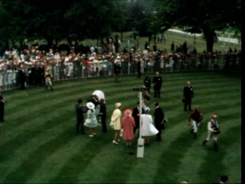 Royal Ascot Day 1 ENGLAND Ascot MS Queen Queen Mother Princess Margaret and Annein winners enclosure TS Royals in paddock MS Mrs Shilling in striped...