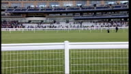 Royal Ascot ENGLAND Berkshire Ascot Racecourse EXT View of racecourse from ground level The Queen in stand as seen from distance