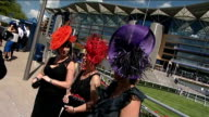 Royal Ascot Ladies Day fashions ENGLAND Berkshire Ascot Racecourse EXT Various shots of ladies in exotic hats and fashions as entering Ascot...