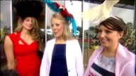 Royal Ascot Ladies Day GVs and intvws Close Shots of Ladies' Day fashionable eccentric and extravagant hats Group of four women with hats in the...