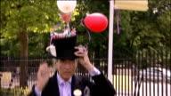 Royal Ascot Outlandish hats on display at race meeting Anneka TanakaSvenska wearing huge headpiece and speaking to press / David Shilling along with...