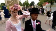 Royal Ascot Outlandish hats on display at race meeting ENGLAND Berkshire Ascot EXT Model and TV Presenter Anneka TanakaSvenska wearing 2 feet tall...