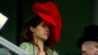 Royal Ascot Racegoers observing strict dresscode / Philip Treacey interview ENGLAND Hampshire Ascot Racecourse EXT Good shots Various of women...