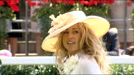 Royal Ascot Royal arrivals Ladies attending Ascot and wearing fancy hats / jockeys in parade ring