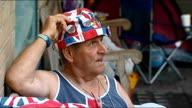 Baby boy born to the Duke and Duchess of Cambridge ITV News Special PAB Paddington St Mary's Hospital DAY Onlooker Terry Hutt wearing Union jack flag...