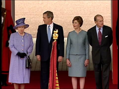 Royal footman Ryan Parry interview LIB Queen Elizabeth II US President George WBush Laura Bush and Prince Philip Duke of Edinburgh standing together...